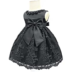 H.X Baby Girl's Newborn Bowknot Gauze Christening Baptism Dress Infant Flower Girls Wedding Dresses 8 Color (18M/13-18 Months, Black)