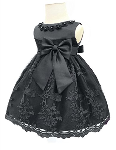 H.X Baby Girl's Newborn Bowknot Gauze Christening Baptism Dress Infant Flower Girls Wedding Dresses 8 Color (12M/10-13 Months, Black)