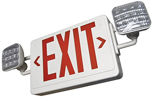 ALL LED EXIT & EMERGENCY COMBO - REMOTE CAPABLE - TWO LED LIGHT HEADS (White Body With Red Lettering)