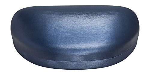 Large Sunglasses Case For Men & Women, Hard Shell Eyeglass Case In Striated Blue Satin