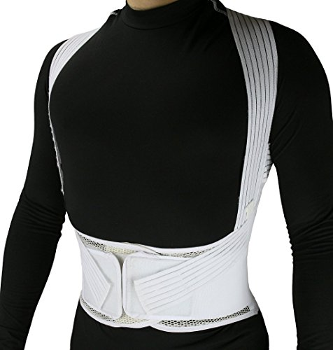 (ObboMed® MB-3400L Back Brace Posture Corrector Wrap for Men and Women, Lower back and Lumbar Support Belt with Shoulder Straps and Front Hook and Loop Closure to Avoid Hunchback, Cream, L:36