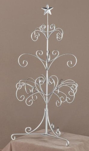 Modern Silver Painted Metal Ornament Tree, Accessory and Jewelry Display, 27''