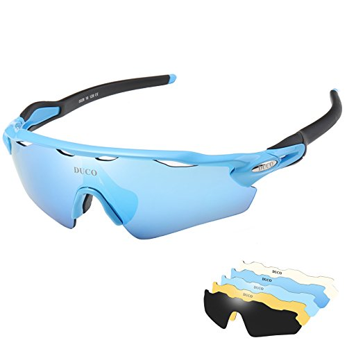 DUCO POLARIZED Sports Sunglasses UV400 Protection Cycling Glasses With 5 Interchangeable Lenses for Cycling, Baseball,Fishing, Ski Running,Golf 0028 Blue-Black