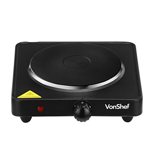 VonShef Compact Portable Single Hot Plate Countertop Kitchen