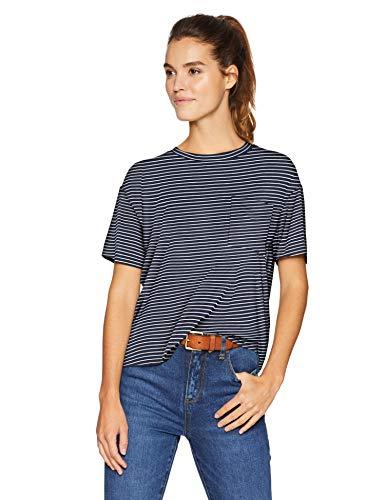 Amazon Brand - Daily Ritual Women's Jersey Short-Sleeve Boxy Pocket T-Shirt, NavyWhite Stripe, -
