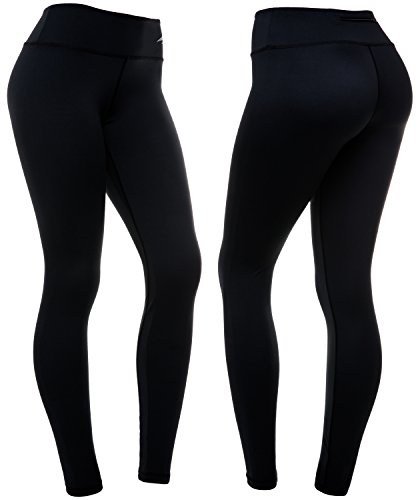 CompressionZ Women's Compression Pants (Black - XL) Best Full Leggings Tights for Running, Yoga, Gym