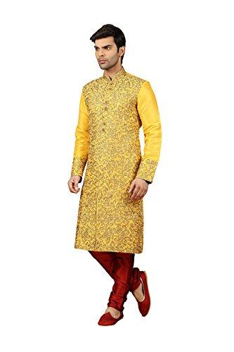 Indianfashion Store Mens Kurta Pajama Wedding Off White Designer Partywear Traditional In Yellow Art Silk by Indianfashion Store