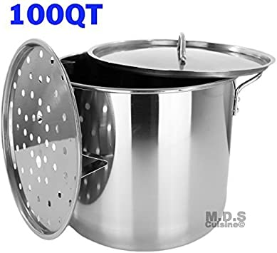Stock Pot Stainless Steel 100 QT Steamer Brew Vaporera Tamalera for Tamales 25gallons