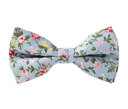 Mens Formal Vintage Neck Bowtie Floral Jacquard Adjustable Pre-Tied Tuxedo Bow Tie Light Blue