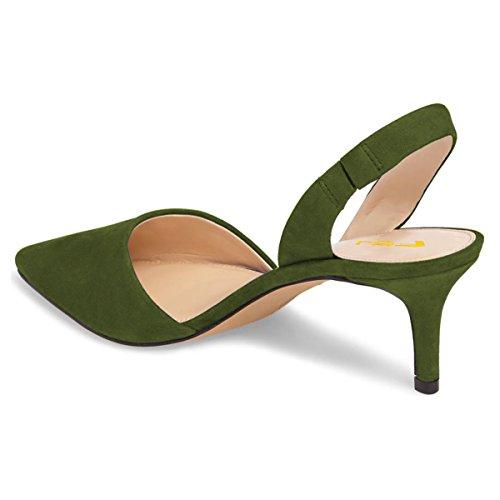 Fsj Scarpe Comode Con Elegante Slingback Tacco A Donna Punta Sandali Yf6b7gy