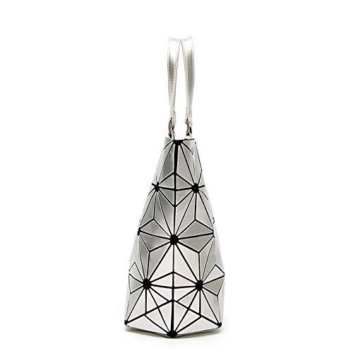 Bolsos mujeres las la PU 23cmX18cm Grey compartimiento las hombro de geometría bolso Bolsos de de plegables del Silver Silver del Bolsos mujeres Bolso la de para totalizador de portátiles O8vqSwg