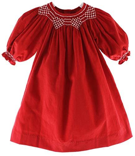 Girls Red Smocked Christmas Dress Long Sleeve Corduroy 3M