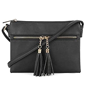 SG SUGU Small Lightweight Double Compartment Crossbody Bag with Tassel for Women
