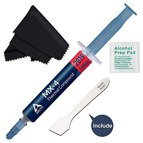 Arctic MX-4 Thermal Compound Paste, Carbon Based High Performance, Heatsink Paste, Thermal Compound CPU for All Coolers, Thermal Interface Material (Mx4 + Tool/Pad & Microfiber Cloth)