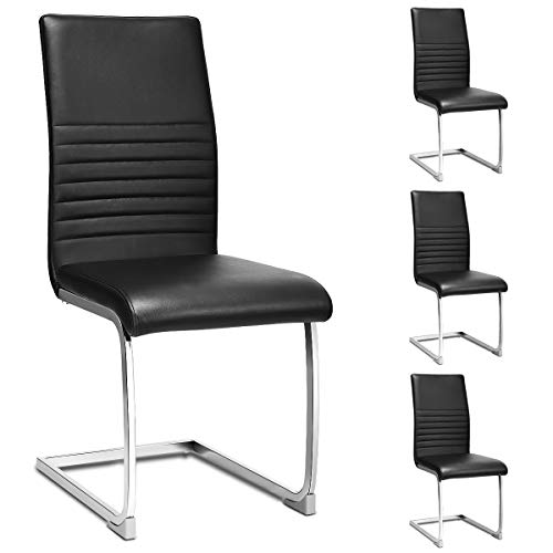 Giantex Set Of 4 Pu Chairs High Back Pu Leather With Solid Chrome Legs Modern Home Kitchen Living Room Furniture 4 Pcs Pu Leather Dining Chairs Black