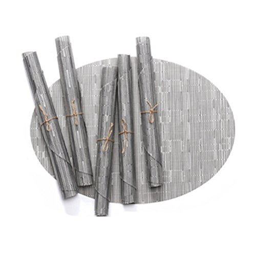BERTERI Decorative Bamboo Pattern Placemats for Dinner Table, Set of 4 Silver Oval Heat-Resistant PVC Non-Slip Table Mat for Home, Outdoor
