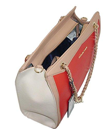 Borsa TRUSSARDI JEANS BL60 handbag SHOPPING ST. TROPEZ TOTE BICOLORE ROSSO