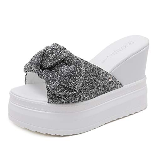 - Zarbrina Butterfly Knot Mules Wedges Slides Sandals for Womens Casual Platform Heels Wide Band Slip-Resistant Summer Walking Shoes White
