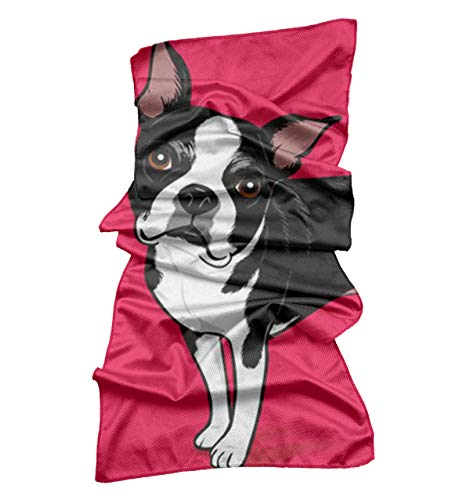 (MrDecor Cool Bowling Fitness Yoga Towels, Soft Ice Cold Towel Boston Terrier Dog for Men, Running, Hiking, Golf, Yoga, Gym)