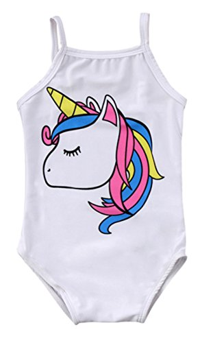 stylesilove Baby Girl Unicorn Print One-Piece Swimsuit Beachwear Bathing Suit 3 Colors (100/18-24 Months, White)