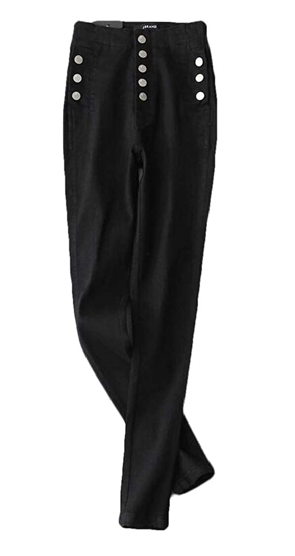 Nanquan Women High Waist Stretchy Buttons Trim Skinny Jeans Denim Pants