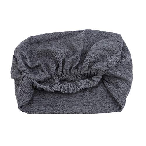 (Firecolor Breathable Women's Chiffon Headscarf Chemo Cap Turban Headband Headwear for Women Hair Bands Accessories,Dark Gray)