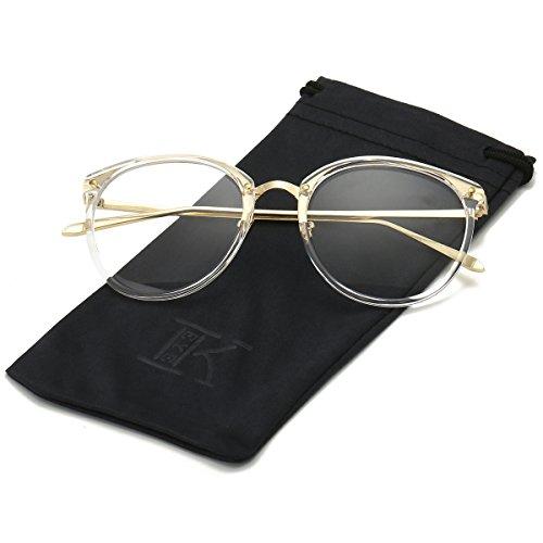 LKEYE Unisex Vintage Oversize Clear lens Round Eye Glasses LK5901 - Glasses No Prescription