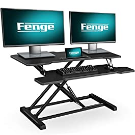 FENGE Height Adjustable Standing Desk Converter 36″ Wide Sit to Stand Up Desk with Organizer Area for Dual Monitors SD360001WB