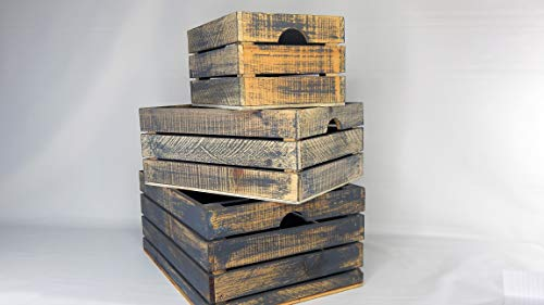 Winship Stake and Lath, Inc. Rustic Decorative Wood Crates (Set of 3) - Cottage Grey ()