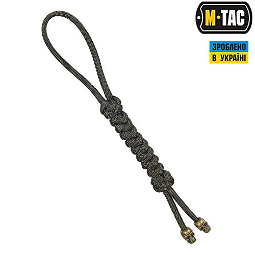 (M-Tac Snake Skull Paracord Tactical Knife Lanyard with Skull Bead (Olive))