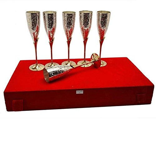 Tuzech Silver Plated Royal Brass Wine Glass Set Of 6 Dining Set Cutlery Buisness Gift