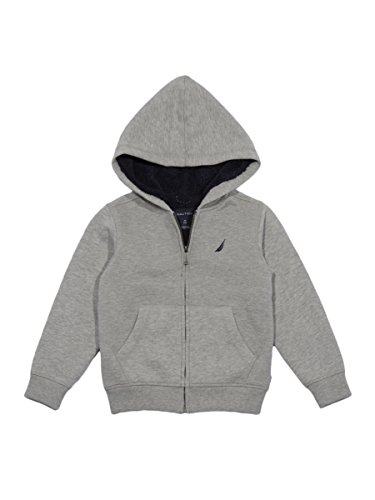 Nautica Little Boys' Expedition Sherpa Fleece Full Zip Hoodie, Grey Heather, 7X by Nautica (Image #1)