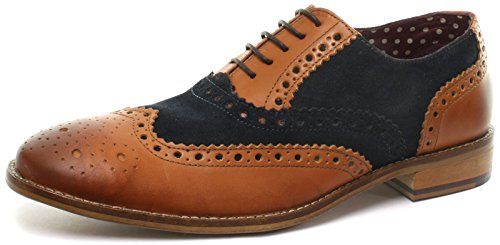 London Brogues Gatsby Leder Herren Halbschuhe Tan/Navy