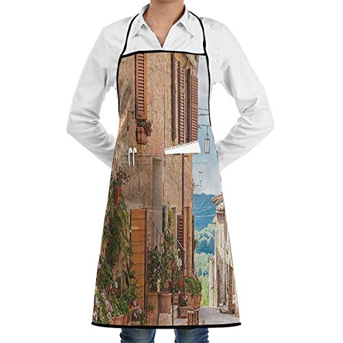 Jesiceeal Unisex Chef Aprons Medieval Old Town in Tuscany Mediterranean Historic High Culture Village Town Stones Photo Professional Bib Casual Painting Cooking Kitchen Working BBQ Aprons ()