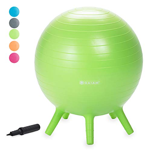 Gaiam Kids Stay-N-Play Children's Balance Ball - Flexible School Chair, Active Classroom Desk Seating with Stay-Put Stability Legs, Includes Air Pump, Lime Green, 45cm