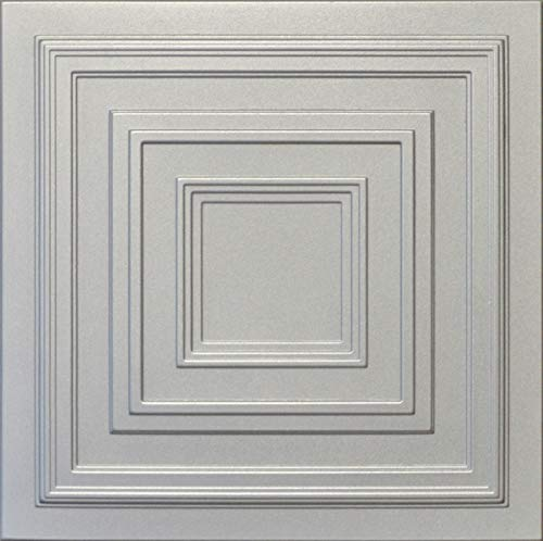 - R33 Silver 20x20 Amazing Styrofoam Tin Look Ceiling Tiles Easy to Glue Up On Any Type of Surface