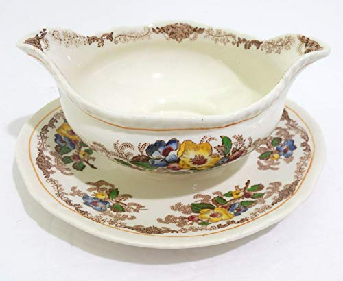 Blossom Boat Gravy (Ridgway (RIDGWAYS) Apple Blossom Gravy Boat with Attached Underplate)