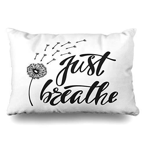 Ahawoso Throw Pillow Cover Queen 20x30 Inches Doodle Wind Just Breathe Isolated Inspirational Quote About Freedom Signs Symbols Miscellaneous Decorative Pillowcase Home Decor Cushion Pillow Case