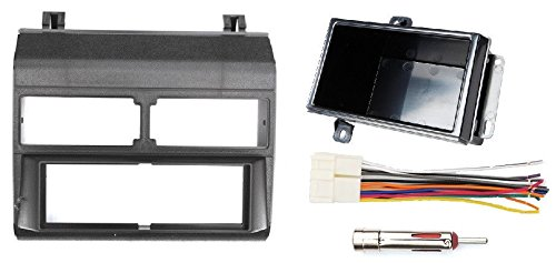 1988-1996 Black Chevrolet & GMC Complete Single Din Dash Kit + Pocket Kit + Wire Harness + Antenna Adapter. (Chevy - Crew Cab Dually, Full Size Blazer, Full Size Pickup, Suburban, Kodiak) (GMC - Crew Cab Dually, Full Size Pickup (Wire Harness Gmc Crew Cab)