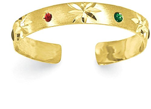 IceCarats 14k Yellow Gold Enameled Adjustable Cute Toe Ring Set For Women by ICE CARATS