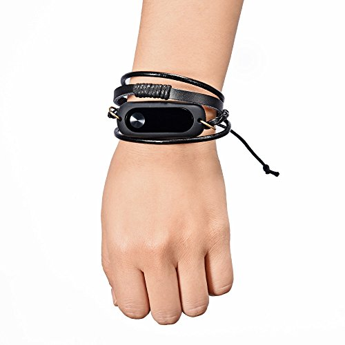 (iuchoice ❤️❤️ New Fashion Leather Bracelet Strap Replacement For Xiaomi Mi Band 2 Smart Wristband Black)