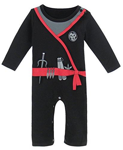 Mombebe Baby Boys' Halloween Costume Ninja Romper (12-18 Months, Ninja) -