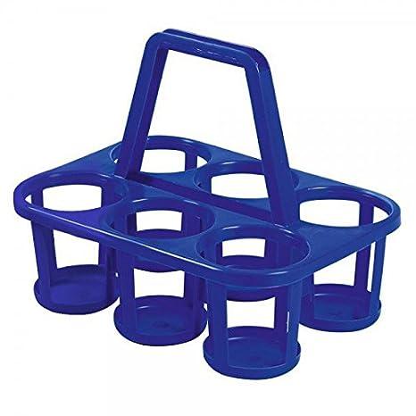 2 x Porta-botellas (Botella cesta para 6 botellas de plástico gris o azul: Amazon.es: Hogar