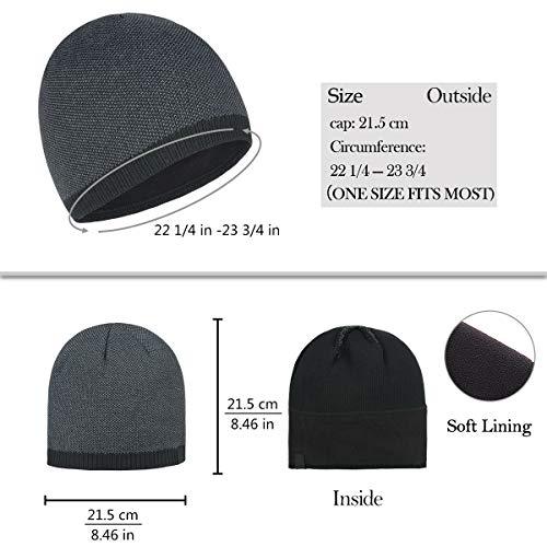 55e86b9cc OMECHY Mens Winter Warm Knitting Hats Plain Skull Beanie Cuff ...