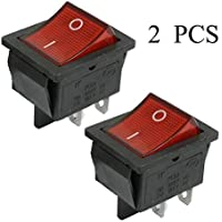 Goldyqin 2 Piezas KCD4 DPST ON-Off 4 Pin