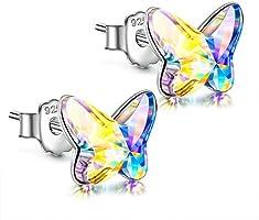 ANGEL NINA Gift for Her pendientes niña pendientes mujer plata Pendientes de botón para niñas Pendientes de plata para...