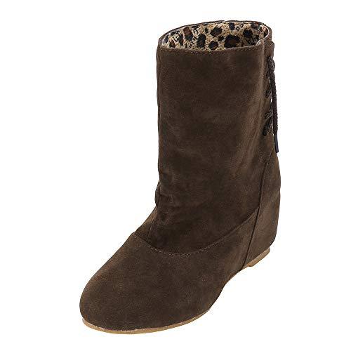Mysky Fashion Women Retro Pure Color Increase Platform Boots Shoes Ladies Leisure Lace Up Boots ()