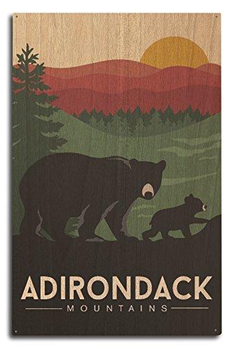 Lantern Press Adirondack Mountains, New York - Black Bear and Cub (10x15 Wood Wall Sign, Wall Decor Ready to Hang)