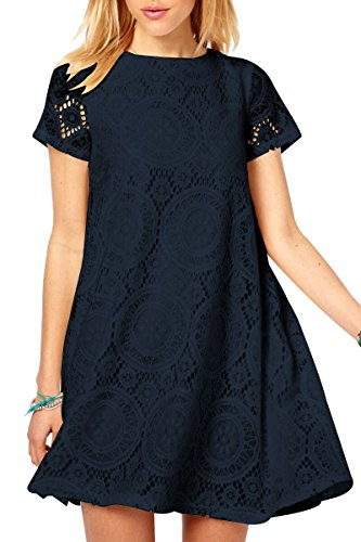 YMING Womens Dresses Casual Summer Special Occasion Lace Dress Navy Blue XL