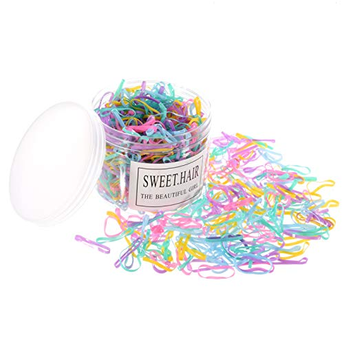 Feeko Rubber Bands,1000 Multi-Color Mini Rubber Band Small Candy Color Hair Band Elastic Band Suitable for Children Hair Braid Hair Wedding Hairstyle